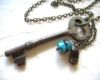 Turquoise, Skeleton Key Necklace, Turquoise Tigereye Gemstone Necklace, Handmade Artisan Jewelry, Gemstone Jewelry, Turquoise, Tigereye