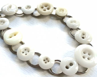 Pearly White Vintage Buttons Bracelet - Shabby Chic