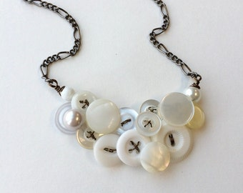 White on White Small Elegant Vintage Button Jewelry Necklace - Bridal Jewelry