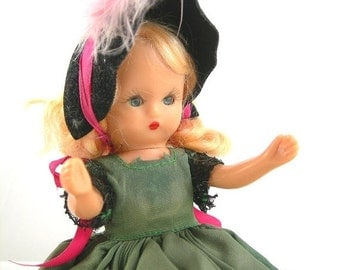 Nancy Ann Storybook Doll, Vintage c1940s, Blonde, Sleepy Blue Eyes, Green Gown, Black Lace, Hat and Undies