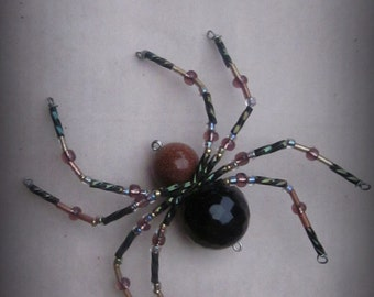 Goldstone and Black  Spider Ornament Sun catcher