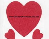 Vintage 80's Red  Soft Fuzzy Heart Sticker large felt