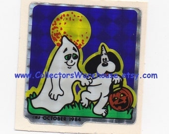 BJ Decal Specialties Unidog Club Sticker October 1984 Vintage 80s Dog Ghost Trick r treating Halloween
