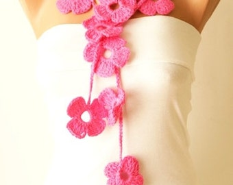 Flower Scarf, Handmade Crochet , Pink mix tones, Flower Lariat, Scarf, Necklace