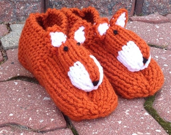 Animal Slippers Fox Slippers Adult Slippers Foxy Slippers Knitted Slippers