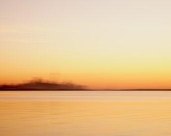 Abstract Art Landscape Toronto Skyline - Lake Ontario Sunrise - Extra Large Wall Art Print - Modern Minimalist Photography - Yellow Orange
