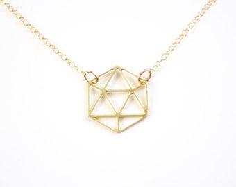 Minimalist Gem Cutout Necklace - Gold or Silver