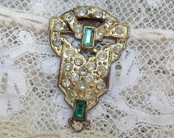 Vintage Art Deco Rhinestone Dress Clip, Clear and Emerald Rhinestones... 1930s Antique Jewelry