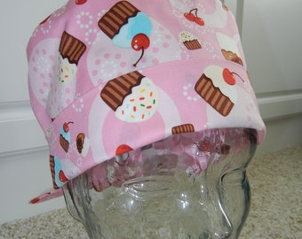 Fold Up Surgical Scrub Hat with Cupcakes Sprinkles Cherries on Pink