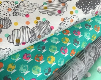 Noteworthy fabric by Erin McMorris, Map fabric, Travel decor, Cloud fabric, Quilting fabric, Aqua fabric, Fabric Bundle of 4, Choose the Cut