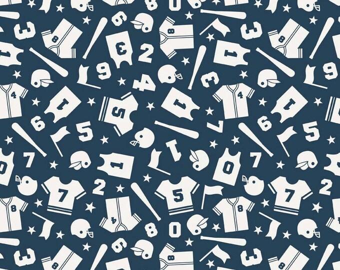 SALE fabric, Sports fabric, Boy fabric, Football Fabric, Play Ball fabric by Riley Blake, Play Ball Uniform in Aqua, Fabric by the Yard