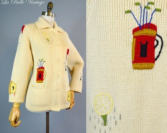 Vintage Novelty Golf Woven Cardigan ~ Embroidered Ivory Sweater