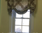Custom Designer TIE UP Faux Balloon Valance Window Treatment You Choose Fabric(s) & Customize