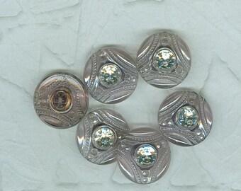 22 mm  Czechoslovakian Vintage Amethyst Lavender Glass Buttons  12 In Lot