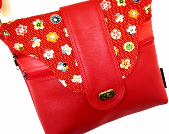 Cross body zipper vegan bag in red with Japanese fabric flap.