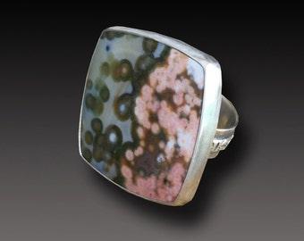 Ocean Jasper Ring Sterling Silver handmadet Ring