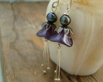 Purple Blossom Earrings With Pearls Silver Mothers Day Bridesmaid Jewelry Flower Jewelry Holiday Jewelry Gifts Under 40 Spring Flowers