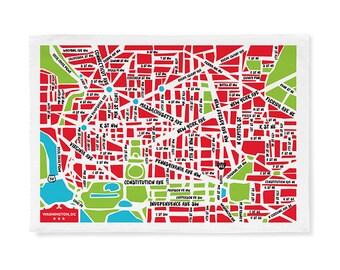 Nation's Capital Map Tea Towel/Dish Towel