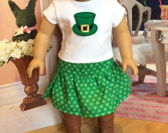 St. Patrick's Day Girl Doll 3 piece set,  Four Leaf clover doll skirt, American Doll dress 18 inch doll clothes 15 inch doll clothes