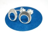 Eclipse Earrings Modern Silver Studs- Mod Circle Earrings, Unique Silver Stud Earrings, Ready to Ship
