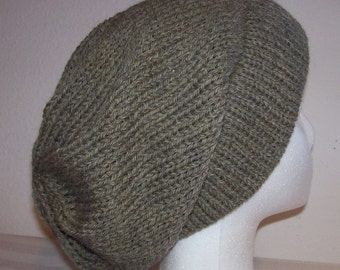 Wool Ski Hat - Slouchy Knit Beanie - Knitted Hipster Toque - Wool Heather - Slouchy Hat