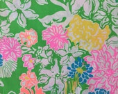 "lilly pulitzer's 2016 hibiscus stroll poplin cotton fabric square 18""x18"""