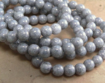 Purple Opaque Luster Czech Glass Round Druk Beads Speckled Luster 6mm (25)