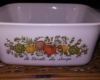Corningware 1 1/2 Quart Le Persil La Sauge Ovenware Dish - Lid NOT included - 8 1/4 inches x 7 inches x 3 inches