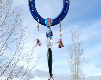 Good Luck Fishing Horseshoe with Hand Blown Glass Bead True Blue