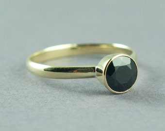 Gold Black Spinel Ring, Goth Ring, Alternative Engagement, Solid 14K Rose or Yellow Gold Ring, Made to Order, Free Courier Shipping