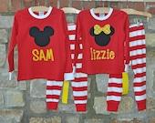 CLASSIC MOUSE Red Stripe Pajama Pant Set - Personalized Monogram - Sizes 12m-10