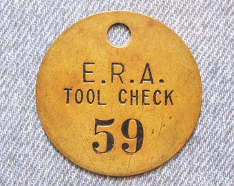 Brass Number 59 Tag ERA Tool Check Id Skeleton Key Antique Painted Numbered Fob Token Repurpose Hardware