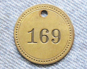 Painted Number 169 Brass Tag Motel Room Check Id Retro Antique Keychain Key Ring Fob Token