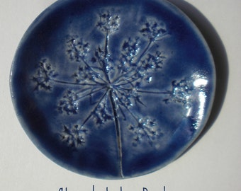 Small Handcrafted Cobalt Blue Queen Annes Lace Trinket Dish