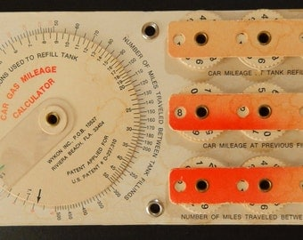 Vintage Car Gas Mileage 10 Dial Calculator Dial Wykon Inc ,  Riveria Beach, Florida * Miles per Gallon *