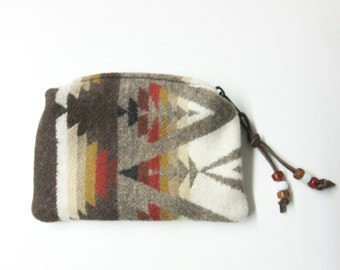 Wool Zippered Pouch Coin Purse Change Purse Accessory Organizer Southwest Print from Pendleton Woolen Mills