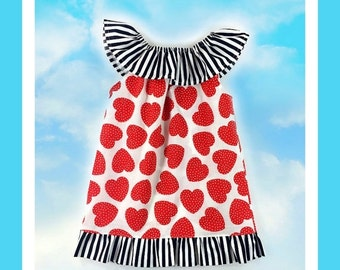 SALE Ruffled Neckline Top/Dress Pattern with ruffles sizes 6m -12 girls PDF