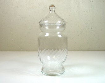 "Swirl Optic Glass Apothecary Jar 8.5"" Tall Terrarium Vanity Candy"