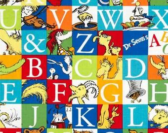 "FAT QUARTER FQ15 Dr. Seuss ABC Adventure ade-14691-267 Precut 18""x22"" Fabric Cotton Quilting Robert Kaufman"