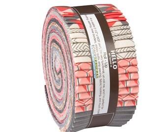 "Robert Kaufman FRAGMENTAL SALMON Roll Up 2.5"" Precut Fabric Quilting Strips Jelly Roll Angela Walters RU-531-40"