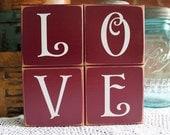 Valentine LOVE Letters Shelf Sitter Blocks Sign Wedding Decor Painted Wood Bride and Groom