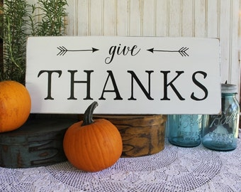 Give Thanks Sign Thanksgiving Handcrafted Signs with Sayings
