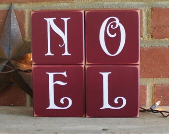 NOEL Christmas Shelf Sitter Blocks Sign Home Decor for the Holidays Handcrafted Stacking Blocks