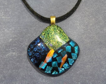 Dichroic Necklace, One of a Kind, Gifts Under 20, Dichroic Fused Glass Pendant, Green, Blue, Orange, Handmade, Ready to Ship - Austin- 5