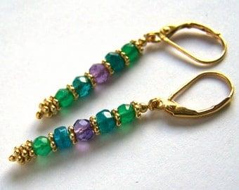 Green Onyx Apatite earrings Amethyst earrings Gold Vermeil, Purple Blue Stick Linear colorful faceted gemstones, leverback handmade jewelry