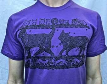 Purple Cats Tshirt Unisex Medieval Merlin Made in USA Sm M L XL 2X