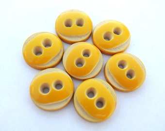 6 Vintage buttons orange color with white 15mm, high quality