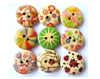 9 Buttons, 9 designs, wood, wooden, assorted colors, 18mm, suitable for button jewelry