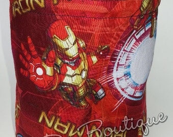 Super Hero Iron Man Round Bottom Drawstring / Dice Bag