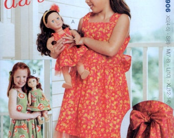 Girls 4 to 14 years plus 18inch Doll Dress Sewing Pattern Kwik Sew 3906 5 sizes